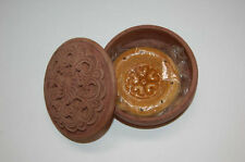 Wooden Gift wood box hand carved with hand-painted ceramic magnet uzbek - bread