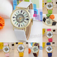 UK Womens Quartz Watches Vintage Feather Dial Leather Band Analog Wrist Watches