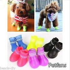 New 4PCS Waterproof Dog Foot Protective Rubber Pet Rain Shoes Boot Booties S M L