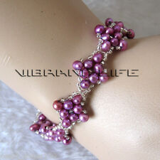 "Cute 8"" 4-5mm Purple Off Round Freshwater Pearl Bracelet AC"