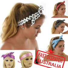 Wire Hair Head Band Bow Scrunchie Retro 70s 80s Party Costume Turban Headban