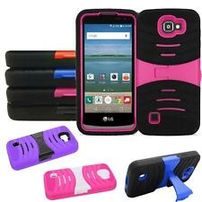 Phone Case For LG Optimus Zone 3 / LG Spree 4g LTE Heavy Duty Armor Cover Stand