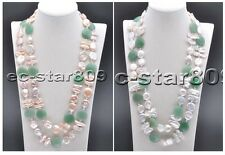 "D0212 46"" Biwa Coin freshwater Pearl Green Jade Necklace"
