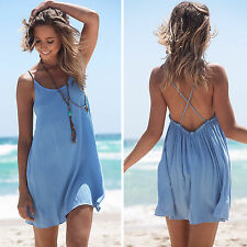 Sexy Lady Summer Holiday Boho Backless Evening Party Short Beach Wear Mini Dress