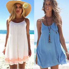 Boho Womens Strappy Casual Tops Summer Beach Bikini Cover-up Shirt Mini Dresses
