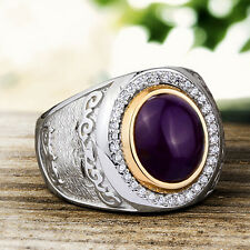 Sterling Silver 925 Mens Ring Natural Purple Agate Gemstone Ring 9 to 11 sizes