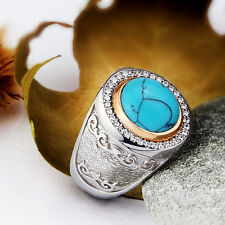 Mens Ring Blue Turquoise 925 Sterling Silver Ring Natural Gemstone 9 to 11 sizes
