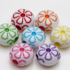 Fashion 20/40Pcs Mixed Acrylic Flower loose Spacer Beads Jewelry Findings 10x6mm