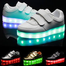 LED Kids Girls Boys Luminous Light Up Velcro Shoes Sneakers USB Charger Trainers