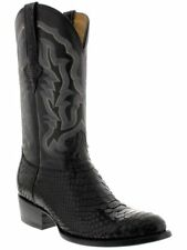 mens black real python snake genuine leather cowboy boots rodeo western round