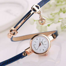 ILJ Women's Dress Ladies Faux Leather Rhinestone Analog Quartz Wrist Watches