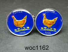 Tonga enamelled coin cufflinks 5 seniti hen with chicks 19mm