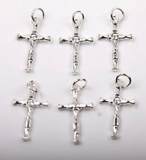 Wholesale 10/50Pcs 25x15mm Silver Plated Cross Charm Pendant Jewelry Findings