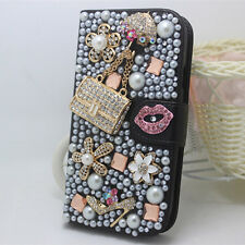 Bling Crystal Diamonds Pearl Lip Flowers PU Leather Wallet Flip Stand Case Cover