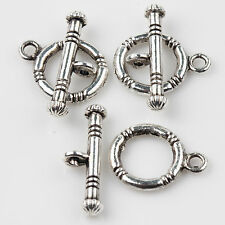 Lots 5/10Sets Tiny Smooth Ring Toggle Clasps Hooks Tibetan Silver 15*12+20*4mm