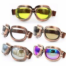 Vintage Dirt Bike Aviator Pilot Style Motorcycle Cruiser Scooter Goggles Copper
