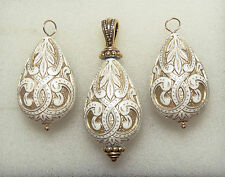Cream & Gold Mediterranean INTERCHANGEABLE Earring Charms & Pendant SET SS or YG