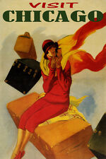 VISIT CHICAGO TRAVEL FASHION WOMAN LUGGAGE AMERICAN TOURISM VINTAGE POSTER REPRO