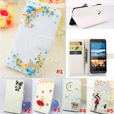 Bling Diamond Crystal Pearl PU leather Flip Stand Wallet Case Cover Skin For HTC