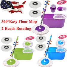 360°Easy Floor Mop 2 Heads Rotating Microfiber Spining Magic Spin Mop W/Bucket