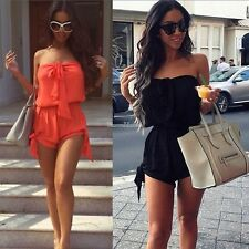 New Women Sexy Strapless Clubwear Playsuit Bodycon Party Jumpsuit Romper Shorts