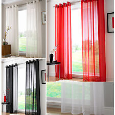 """Plain Ring Top Voile Panel - Net Voile Net Curtain with Tie Back - 59"""" Width"""