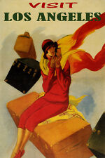 VISIT LOS ANGELES TRAVEL FASHION WOMAN LUGGAGE USA TOURISM VINTAGE POSTER REPRO