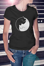 New WOMENS LADIES FITTED Cool Vintage Retro Cat KITTEN YIN YANG T-SHIRT Gift Tee