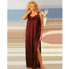 Plus Size Lingerie Sizes 1X 2X 3X Long Toga Gown with Lace Side Slit 7961X
