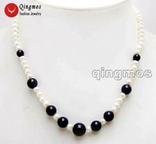 "SALE 5-6mm White round Natural pearl and 6-10mm black agate 17"" Necklace-nec5925"