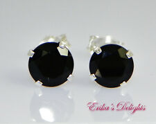 Genuine Black Onyx Round Sterling Silver Earrings (Choose your Size)
