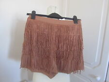 BNWT ASOS SOLD OUT WOOVEN CAMEL HIGH WAISTED SHORTS WITH FRINGIN MANY SIZES