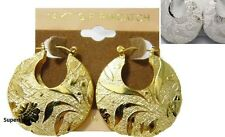14 KT Cold Filled GF Pincatch Earrings Hip Hop African Hoop Flower Leaf Circle