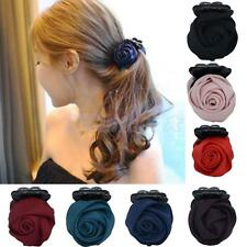Women's Rose Flower Back Clip Banana Barrette Hair Claw Accessory (Choose Color)