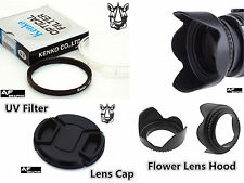 F47 Lens Hood + Lens Cap + UV Filter 43mm for Digital Camera Camcorder Lenses