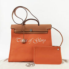 ... hermes 30cm natural toile and vache calfskin leather herbag pm backpack  bag ... bba1b47a56350