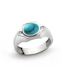 Mens Ring 925 Sterling Silver Natural Diamonds 0.02ct and Gemstone 5 to 15 sizes