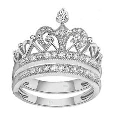 2 ps real 925 sterling silver Women's Weddings crown princess ring Sz 4-11.5
