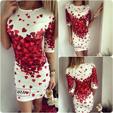 Womens Tunic Red Heart Cocktail Party Bodycon Pencil Mini Dress Printed Jumpers