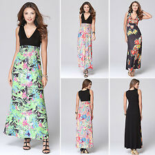 Sexy Lady Summer Floral V-Neck Sleeveless Beach Boho Maxi Sundress Long Dress