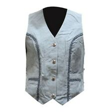 WOMENS MOTORCYCLE GENUINE LEATHER DENIM LOOK VEST w/ BRAIDING & SIDE LACES -DA83