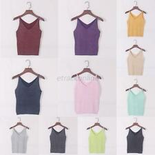 Sexy Women V Neck Sleeveless Knitted Tank Top Shirt Spaghetti Strap Vest Blouse