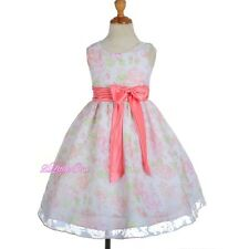 Floral Flower Girl Summer Dress Wedding Easter Holiday Coral Size 4 5 6 7 8 #013