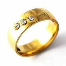 Fashion Clear CZ Yellow Gold Filled Men Womens Ring Size 6 7 8 9 10 11