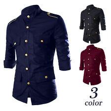 Stylish Mens Military Formal Tops Slim Fit Dress Epaulet Shirts Casual Shirts T