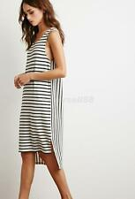 BOHO Ladies Sleeveless Party Tops Womens Summer Beach Striped Dress UK Size 8-14