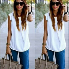 New Womens White Sleeveless Casual Tops Tank Fashion Ladies Loose Blouse Vest