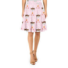 Oh Deer! Pastel Pink A-Line Skirt Sizes XS-3XL Flared Skirt