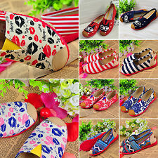 Womens Students Ethnic Shoes Casual Ballet Slip On Flat Ballerina Loafer Shoes