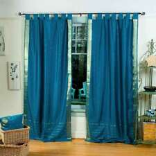 Turquoise  Tab Top  Sheer Sari Curtain / Drape / Panel  - Pair